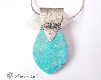 Amazonite Sterling Silver Necklace, Unique Handmade Sterling Jewelry, Amazonite Pendant, Aqua Blue Gemstone Necklace, Silversmith Jewelry