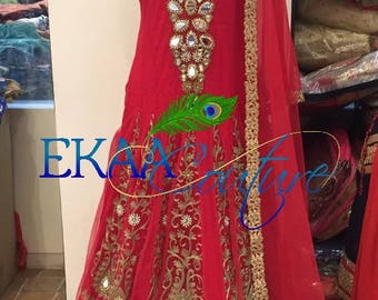 Red net Gown with golden thread and mirror work
