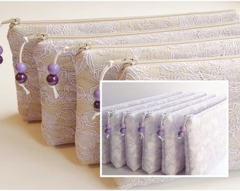 Bridal Clutches Lilac Lace Set of 5 Bridesmaids Cosmetic Purses Bachelorette Party Gift Color of 2018