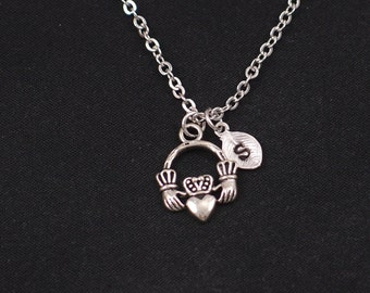 tiny claddagh necklace, sterling silver filled, initial necklace, silver claddagh charm on silver chain, love, loyalty, friendship symbol