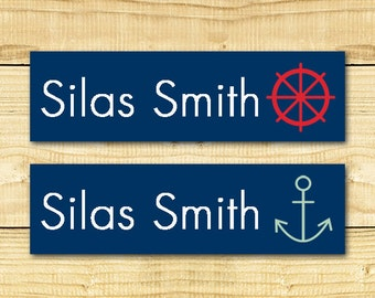 80 Custom Clothing Labels Iron on Labels Personalized Iron on Clothes Tags Daycare Name Labels School Camps - Uncut - Nautical