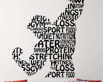 Fitness Wall Decal Gym Vinyl Stickers Sports Room Decor Home Interior Sport Art Decoration Words Removable 8efuns