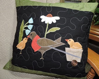 "Signs of Spring!!   Appliqued Quilted Pillow with Bird and Two Chicks     16.5"" x 16"""