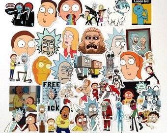 35Pcs American Drama Rick and Morty Funny Sticker Decal/sticker pack/sticker laptop/sticker pack/stickers/sticker waterproof/sticker bicycle