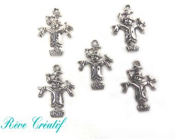 Pendants scarecrow, Halloween, 25mm x 18mm 25x19mm, hole 2mm, silver, 10 pieces