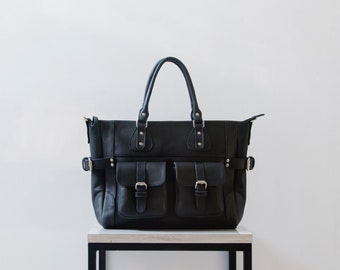 DIANA - Leather tote bag with pockets, BLACK leather diaper bag, leather shopping bag, leather bag for teachers, genuine leather bag