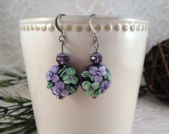 Handmade Lampwork Purple Earrings with Swarovski Crystals