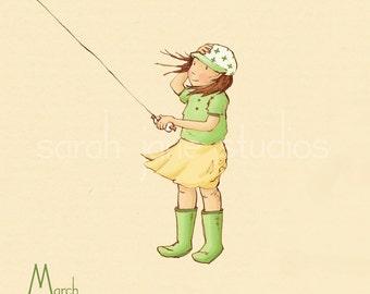 Children's Wall Art Print - March in the Wind - 8x8 - Girl Kids Nursery Room Decor