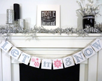 Christmas / Winter Banner - Let it Snow Sign - Merry Christmas Banner - Photo Prop - Holiday Decor - Christmas Decor - Silver and Pink theme