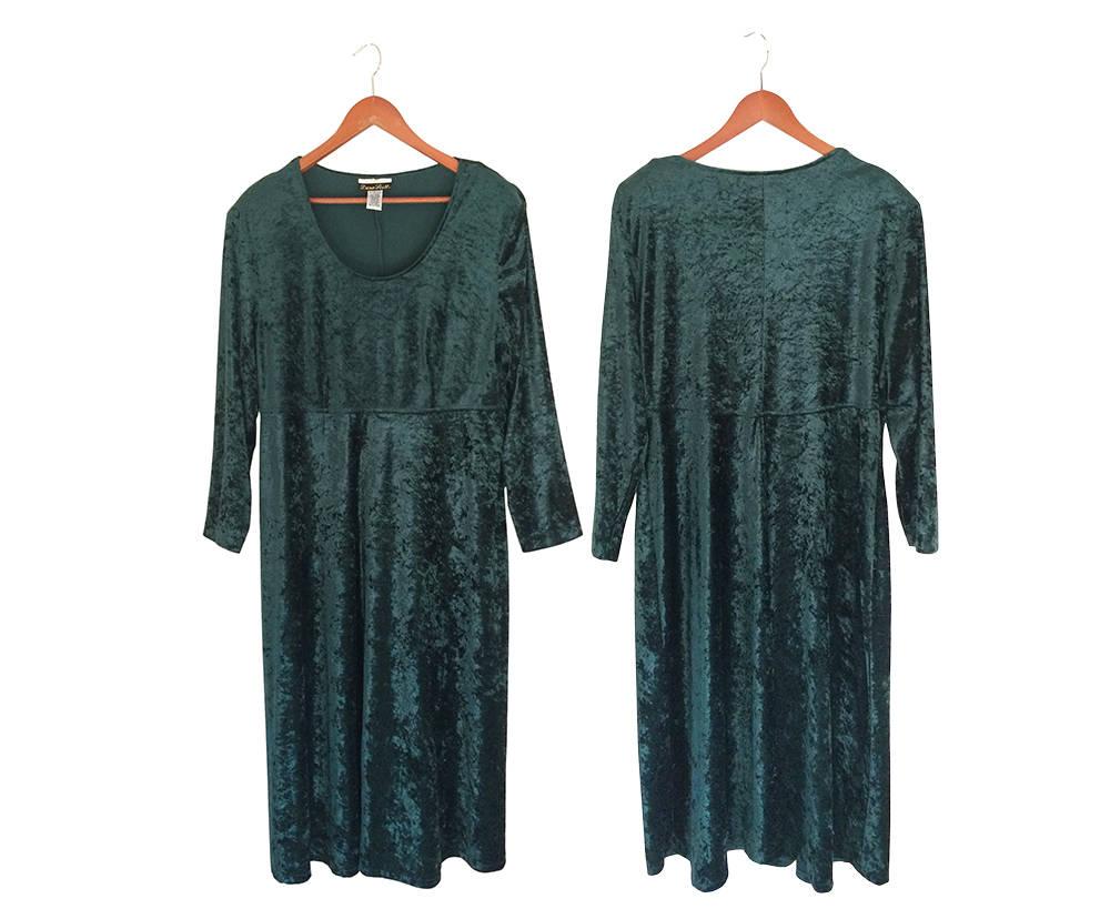 Grün Samtkleid Plus Size Kleid lang samt Kleid der 90er Jahre