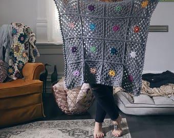 READY TO SHIP . polka dot hand crocheted baby blanket . stroller blanket . multi colored .
