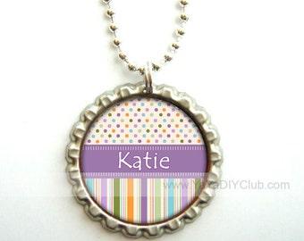 Personalized bottle cap necklaces, Gift for girls, Personalized necklace, bottle cap necklace - polka dots stripes Purple