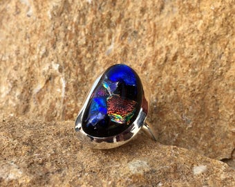 Synthetic Acrylic Glass Irregular Shape Sterling Silver Ring - Handmade Ring - Glass Stone Ring - LP036