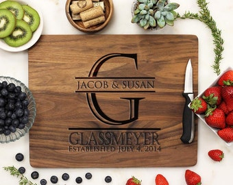 Personalized Cutting Board, Custom Cutting Board, Engraved Cutting Board, Family Anniversary Housewarming Walnut Wood --21035-CUTB-002