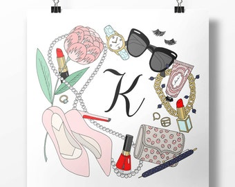 Kiss & Tell Custom Initial Fashion Illustration Art Poster