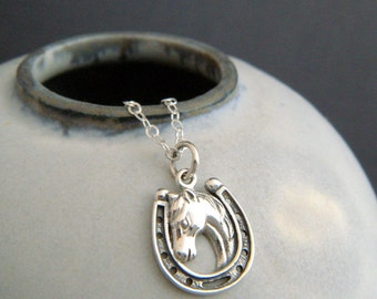 """silver horse in horseshoe necklace small sterling equestrian pendant realistic animal pride lover love charm simple equine jewelry gift 5/8"""""""