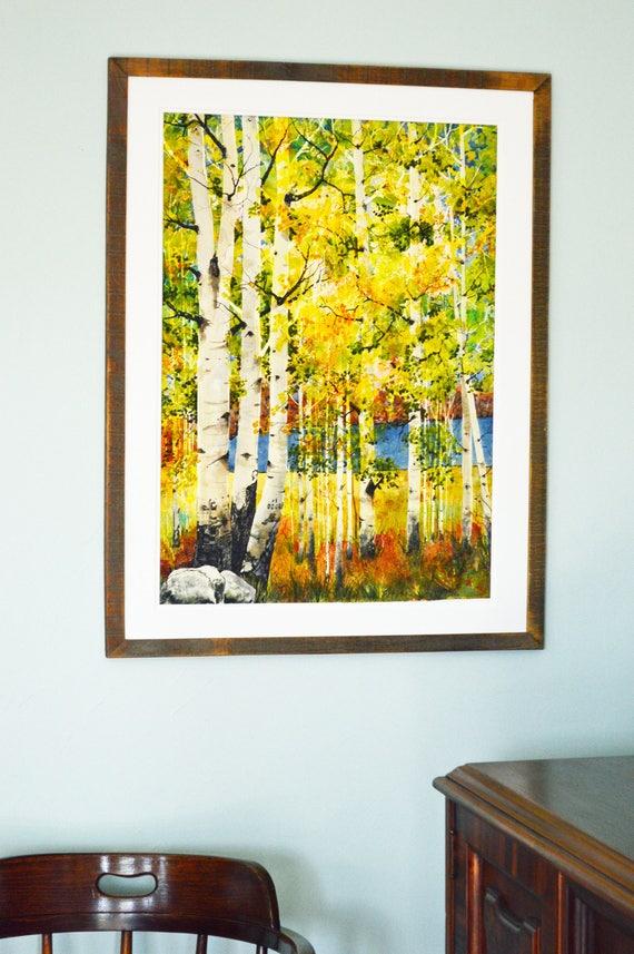 Fine art painting aspens large original watercolor landscape