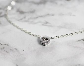Tiny Skull Bracelet in Sterling Silver - Delicate Chain Bracelet with Minimal Skull Bead