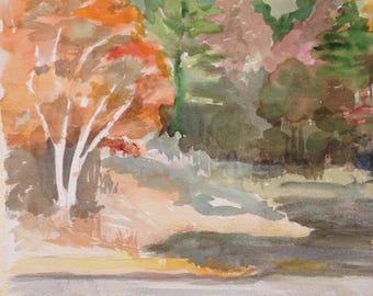 Coastal Maine Fall Watercolor