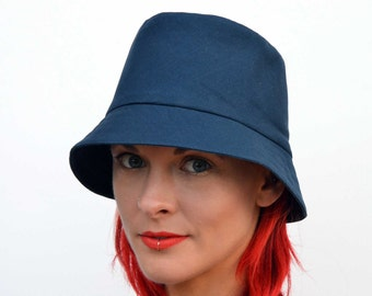 Navy sun hat, foldable hat, travel hat, brimmed summer hat, fedora, blue calico sunhat, cotton hat, summer fashion, beach wear