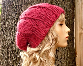 Knit Hat Womens Hat Slouchy Beanie - Urchin Beret Hat in Raspberry Pink Knit Hat - Pink Beret Pink Hat Womens Accessories