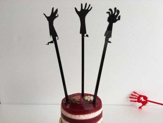 Cupcake toppers Black silhouette Halloween party Zombie hands Drink stirrers Laser cut Hands silhouette Halloween ornament Halloween wedding