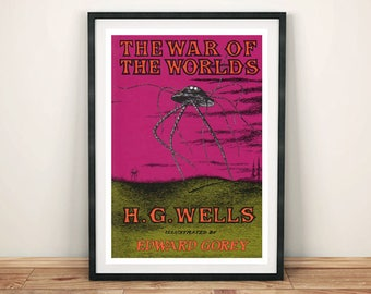 BOOK COVER PRINT: Vintage War of the Worlds Sci-fi Art Print Wall Hanging