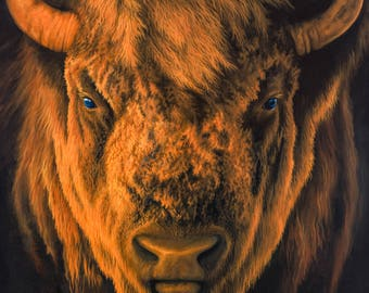 Bison Painting | Buffalo Painting | American Bison Close Up | American Bison Face | Giclee Print | Wall Art | Animal Art