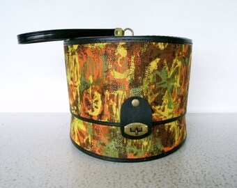 Vintage Hat / Wig Box Small Vinyl Multi Colored Bagmaster