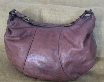 Large LUCKY BRAND vintage brown hobo leather shoulder bag purse