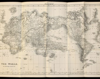 Vintage world map etsy large antique world map on mercators projection circa 1840 black and white engraving by archer gumiabroncs Images