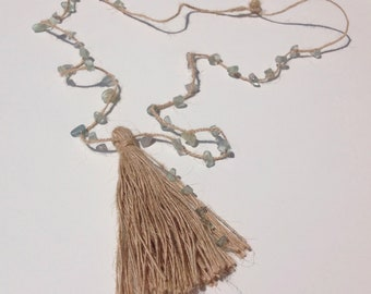 Necklace Gems and tassel. Choose your color. Long Jute necklace. Boho Necklace. Beach necklace. Summer Necklace. Pompom necklace.