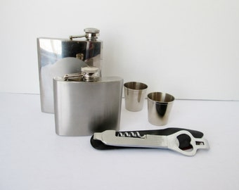Stainless Steel Hip Flasks Shot Glasses and Dual Opener Bar Tool w Leather Holder Portable Barware
