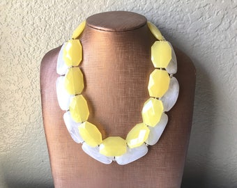 Yellow & White Necklace, multi strand jewelry, big beaded chunky statement necklace, pink necklace, bridesmaid necklace, bib necklace