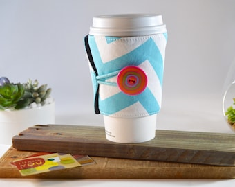 Chevron Coffee Sleeve Tea Cozy for Tapered Cups, Novelty Travel To Go Present, Striped Adjustable Fabric Java Jacket, Drink Carrier Holder