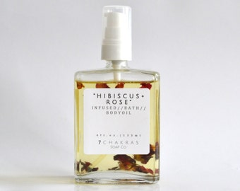 Hibiscus Rose Infused, Body Oil, Bath Oil, Romantic Massage Oil, Body Moisturizer