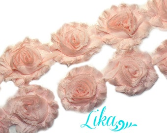 Orchid Pink Shabby Rose trim - Shabby Flower Trim - Shabby Flowers - Chiffon Flower - Wholesale - Shabby Chic - Rose Trim - 1/2 or 1 yard
