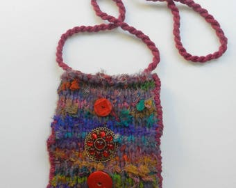 Hand Knit Multi-colored Silk and Felt Cross Body Bag - Jewel Tone Silk