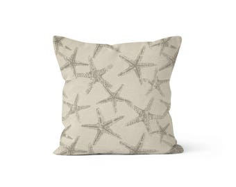 Grey Starfish Pillow Cover Sea Star - Seafriends Coastal Grey - Lumbar 12 14 16 18 20 22 24 26 Euro - Hidden Zipper Closure