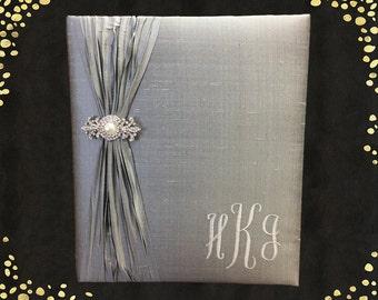 Custom Wedding Book Wedding Memory Book Guest Book Monogrammed Wedding Book Silk Memory Book Guest Book Wedding Memory Book Platinum