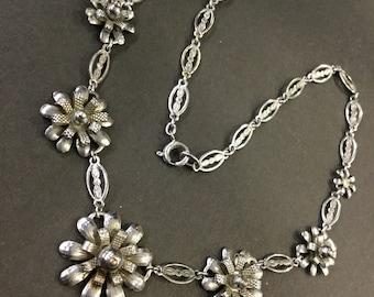 Art Deco chrome necklace
