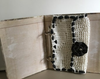 Hand Crochet Snap Closure Envelope/Pouch in Off White and Black Holds Photos or Notes in Journals or Accent Piece