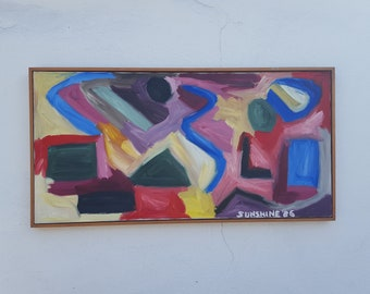 Vintage Colorful Expressionist Painting By Sunshine 1986.