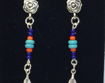 Beaded Native American Silver Feather Dangle Pierced Earrings Handcrafted