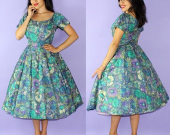 PARISIAN... vintage 1950's Gigi Young New York painterly floral full skirt new look party dress