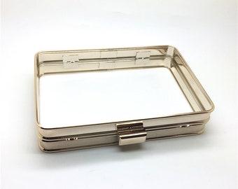 5pcs/lot 16.5 x 11cm box clutch minaudiere metal frame hardware, only metal frame, cover fabric/leather onto the grooves of the frame M90-B