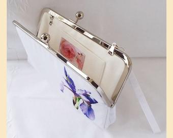 Clutch bag wristlet, white evening purse, wedding clutch, bridesmaids gift, personalised clutch, purple iris flower