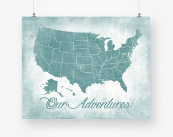 united states USA US map download teal green push pin map distressed wall art decor printable poster jpg pdf digital instant download