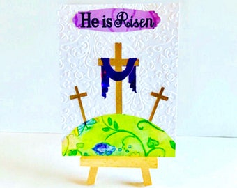 He Is Risen Easter Card, Religious Easter Card, Easter Card, Religious Card, Holiday Card, Card With Crosses, Easter Religious Card, Easter