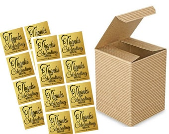 """3 x 3 x 4"""" Kraft Brown  Wedding Gift Candy & Party Favor Boxes w. Sticker Seals -24pack"""